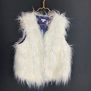 White Faux Fur Shaggy Vest XXL 2XL